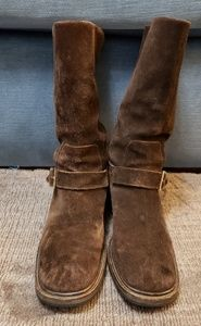 Gucci motorcycle boots brown suede buckle 8.5